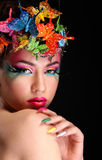 Modebrunette-Modell-Porträt Stockfotos