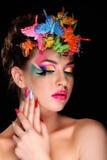 Modebrunette-Modell-Porträt Lizenzfreies Stockbild