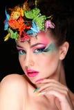 Modebrunette-Modell-Porträt Stockfoto