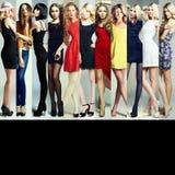Modecollage Grupp av härliga unga kvinnor royaltyfri bild