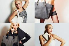 Modecollage Grupp av härliga unga kvinnor flickor med handväskan Arkivbild