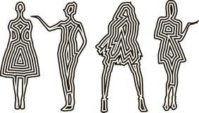 Modedesignkvinnlign modellerar konturer mallen, kvinnor i klänningar Arkivbild