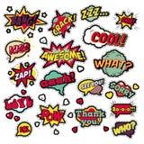 Modeemblem, lappar, klistermärkear i popet Art Comic Speech Bubbles Set med halvton prack kalla former stock illustrationer