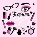 Modefahne mit einem Satz Illustrationen bilden Zeichen Vektor Abbildung