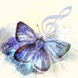 Modefjärilsbakgrund med G-klav och fjärilen stock illustrationer
