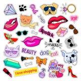 Modefleckenausweise Katzen und Hunde eingestellt Aufkleber, Stifte, bessert handgeschriebene Anmerkungssammlung in der komischen  Lizenzfreies Stockbild