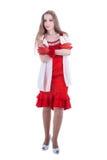 Modeflicka i röd klänning Royaltyfri Fotografi
