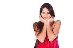 Modeflicka i röd klänning Arkivbilder
