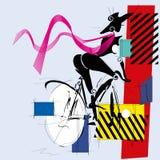 Modeflicka med cykeln Royaltyfri Bild