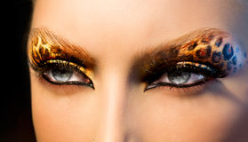Modeflicka med leopardmakeup Arkivbild