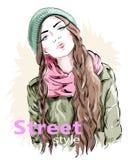 Modeflicka som bär den moderna toppluvan och omslaget Gatastilkläder skissa royaltyfri illustrationer