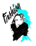 modeflickan för den svarta framsidan isolerade makeup perfekt s kvinna för rengöringsduk för mall för sida för hälsning för bakgr stock illustrationer