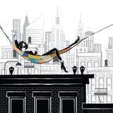 Modeflickan i stil skissar i New York royaltyfri illustrationer