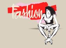 Modeflickan skissar Text och teckning av flickan Dra modellen royaltyfri illustrationer