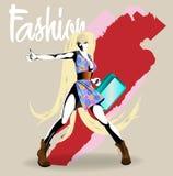 Modeflickan skissar Text och teckning av flickan Dra modellen vektor illustrationer