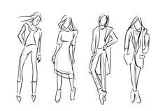 Modeflickauppsättningen skissar illustrationen isolerade samlingen vektor illustrationer