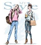 modeflickor två Hand drog stilfulla härliga kvinnor med påsar skissa stock illustrationer