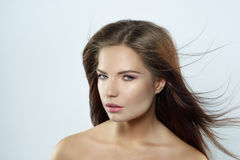 Modefoto der braunen Haarschönheit Stockbild