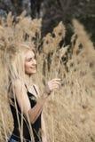 Modefoto im Freien junger schöner Dame in der Herbstlandschaft mit trockenen Blumen Stockbilder