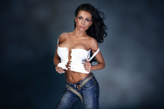 Modefoto von Brunettedame Lizenzfreie Stockfotografie