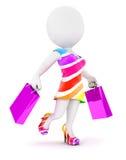 Modefrau der weißen Leute 3d mit Einkaufstaschen lizenzfreie abbildung