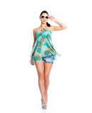 Modefrau im grünen Kleid getrennt Lizenzfreies Stockbild