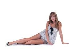 Modefrau kurz gesagt und Tupfenbluse Stockfotos