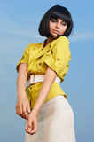 Modefrau mit Pendelfrisur Lizenzfreies Stockbild