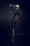 Modefrau mit Schwarzem bilden Lizenzfreie Stockfotografie
