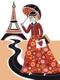 Modefrau in Paris Stockbilder