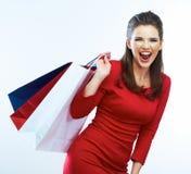 Modefrauenporträt lokalisiert Weißer Hintergrund Glückliches Mädchen h Stockfotos