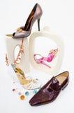 modeglamourlivstid shoes fortfarande Fotografering för Bildbyråer