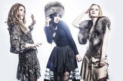 Modegrupp av härliga unga kvinnor Arkivfoton