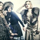Modegrupp av härliga unga kvinnor arkivfoto
