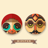 Modehippie im Design der Maske lizenzfreie abbildung