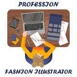 Modeillustratör på arbete Arbetsplats av kl?derformgivaren ovanf?r sikt royaltyfri illustrationer