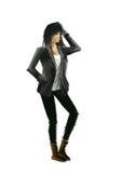 Modeillustration, flicka i läderomslag Royaltyfria Bilder