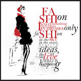 Modeillustration med citationstecken Modern kvinna- och vitbakgrund royaltyfri illustrationer