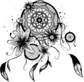 Modeillustration med den dröm- stopparen och blommor Hand dragen design stock illustrationer