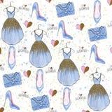Modeillustrationmodell Blänka klänningen, hänga löst, skor, hjärtaillustration Dots White Background Arkivbilder