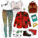 Modeillustrations-Kleidungssatz Lizenzfreie Stockbilder