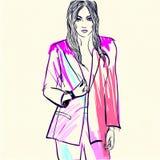 Modeillustrationsfrau in der rosa Jacke Lizenzfreie Stockfotos