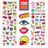 Modeklistermärkear och emblem med kanter, händer och den komiska anförandebubblan Tonårigt stilklotter stock illustrationer