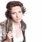 modekvinna i höstdräkt Fotografering för Bildbyråer