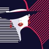 Modekvinna i stilpopkonst vektor illustrationer