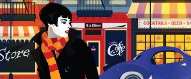 Modekvinna i stilpopkonst också vektor för coreldrawillustration stock illustrationer