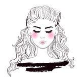 Modekvinnaframsida Skissa vektorn cartoon Isolerad konst stock illustrationer