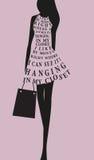 Modekvinnaklänning från ord Royaltyfria Bilder