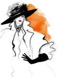 Modekvinnamodell med en svart hatt stock illustrationer