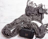 Modekvinnatillbehör Svart handväska för läder och grå färghalsduk Arkivfoto